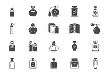 Perfume Bottles Flat Icons. Ve...