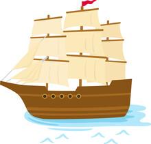 海に浮かぶ木製の帆船