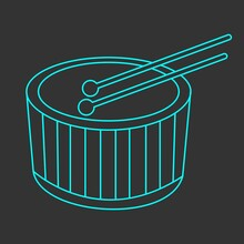 Blue Drum Icon On A Black Background. Vector Image, Eps 10