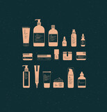 Fototapeta Dinusie - Set of cosmetic bottles in graphic style. Many containers for beauty and fashion products drawing on dark background