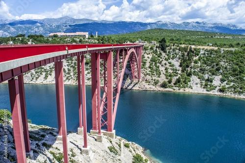 Fotografija Beautiful shot of Maslenica Bridge over the river channel in Croatia
