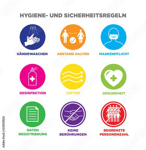 Icon set Iconset Hygiene und Sicherheit Regeln Händewaschen Abstand halten Maske Canvas Print