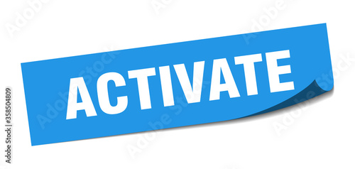 Photo activate sticker. activate square isolated sign. activate label