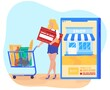 Online shopping flat vector illustration. Cartoon tiny woman buyer character holding card and grocery shopping cart, buy in mobile shop smartphone app, internet ecommerce technology isolated on white