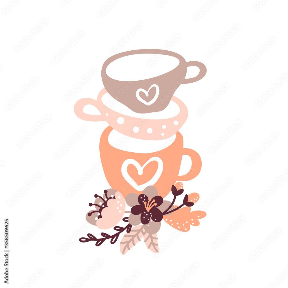 Fototapeta Vector vintage floral tea cup illustration for food blog. Hand drawn cute design element. For restaurant, cafe menu or banner, poster