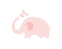 Cute Pink Elephant With With W...