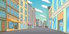 Empty Downtown Street, Vector ...