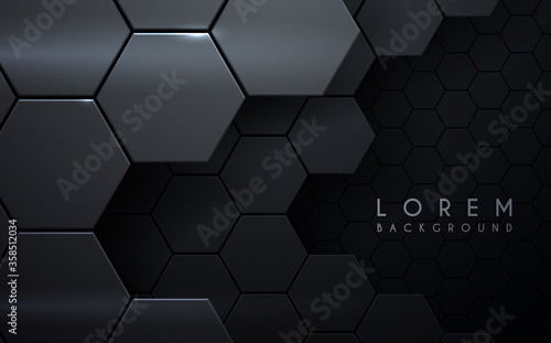 Abstract metal hexagon layers background Wallpaper Mural