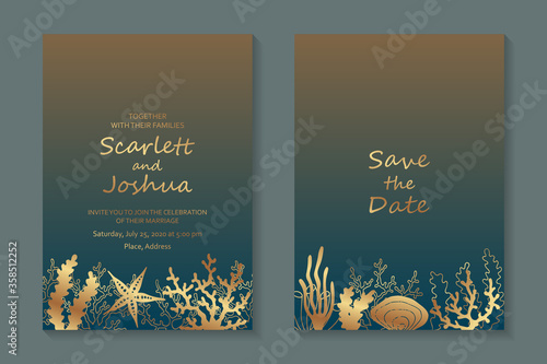 Fotografie, Obraz Modern luxury wedding invitation design or card templates for business or presentation or greeting with golden corals, starfish and seaweed on a blue and yellow background