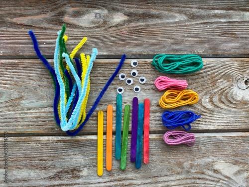 Set for children's creativity, pipe cleaners, plastic eyes and yarn, ready for needlework Fototapeta