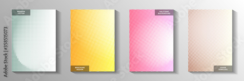 Fototapeta Simple circle perforated halftone title page templates vector collection. Geometric banner faded  obraz