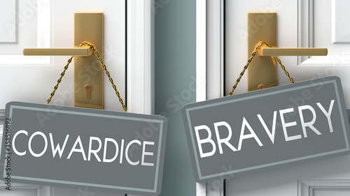 Cuadros en Lienzo bravery or cowardice as a choice in life - pictured as words cowardice, bravery