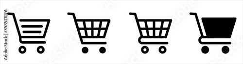 Obraz na płótnie Shopping cart line and flat icon