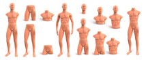 Beige Plastic Male Mannequin For Clothes. Set Of Parts Of A Mannequin Of The Male Body. Vector 3d Realistic Illustration Isolated On White Background. Fashion Store Decor.