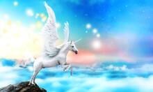 White Pegasus Unicorn In A Cli...
