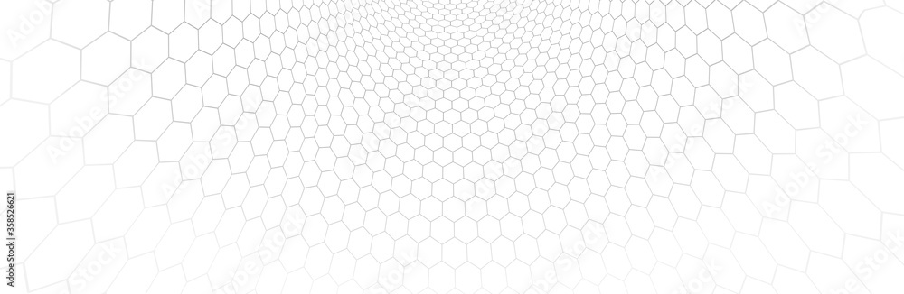 Fototapeta Technology vector abstract background with hexagons mesh, 3D abstraction of nanotechnology and science, electronics and digital style, wire net dimensional perspective.