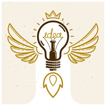 Idea Light Bulb With Wings Lau...