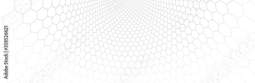 Technology vector abstract background with hexagons mesh, 3D abstraction of nanotechnology and science, electronics and digital style, wire net dimensional perspective Fototapeta