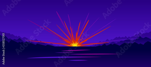 Explosion in the nigh vector illustration, war and bombing. Canvas Print