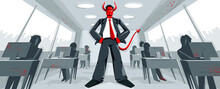 Big Boss Director With Horns Like Demon Or Devil Stands In Center Of Office With Employees Confident Serious And Angry Vector Illustration, Bad Boss Despot And Tyrant Concept, Manager In Control.