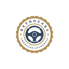 Car Steering Wheel Logo Template Vector Design Element Vintage Style