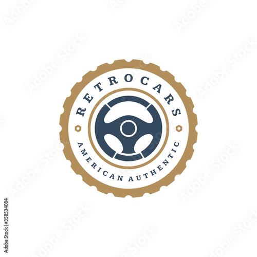 Car steering wheel logo template vector design element vintage style Canvas Print