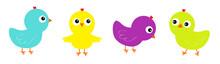 Bird Icon Set Line. Cute Carto...
