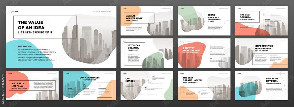 Obraz Business powerpoint presentation templates set. Use for modern keynote presentation background, brochure design, website slider, landing page, annual report, company profile. fototapeta, plakat
