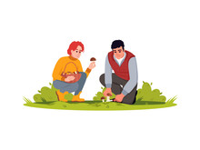 Couple Pick Mushrooms Semi Flat RGB Color Vector Illustration. Autumn Harvest In Forest. Collect Fresh Crop In Countryside. Female And Male Farmers Isolated Cartoon Characters On White Background