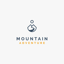 Simple And Creative Mountain, River Flow And Sun For Adventure Logo Design Inspiration