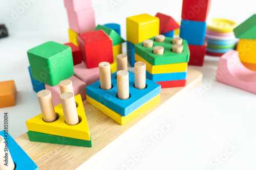 Children toy wood block colorful for development baby skill