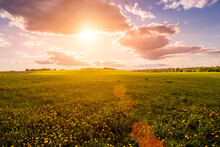Sunrise Or Sunset On A Field C...