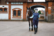 Rider In A Sanitary Mask With ...