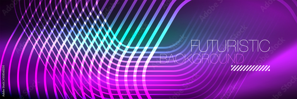 Fototapeta Shiny neon lines, stripes and waves, technology abstract background. Trendy abstract layout template for business or technology presentation, internet poster or web brochure cover, wallpaper