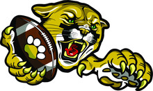 Cougar Football Mascot Holding Ball In Claw For School, College Or League