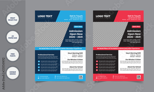 Fototapety, obrazy: School Education Flyer Templates vector illustration template in A4 size