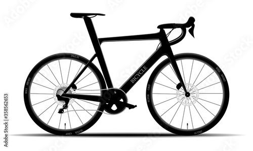 Leinwand Poster Modern black mountain bike on isolated background, hardtail, vector illustration