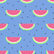 Seamless Vector Simple Pattern With Watermelon Slices And Seeds. Cute Summer Background. Tropical Backdrop For Print, Textile, Fabric, Paper, Scapbooking
