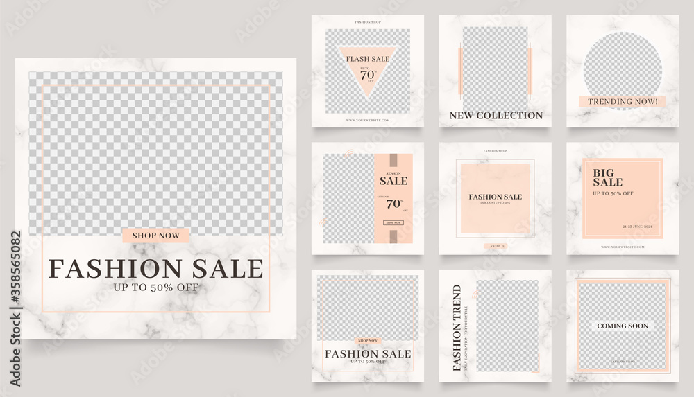 Fototapeta social media template banner fashion sale promotion. fully editable instagram and facebook square post frame puzzle trendy sale poster. marble texture vector background