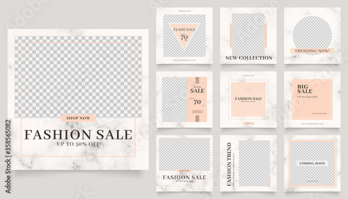 Fototapeta social media template banner fashion sale promotion. fully editable instagram and facebook square post frame puzzle trendy sale poster. marble texture vector background obraz