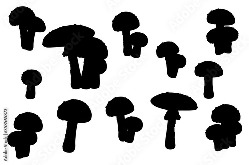 Photo Fy agaric silhouettes set