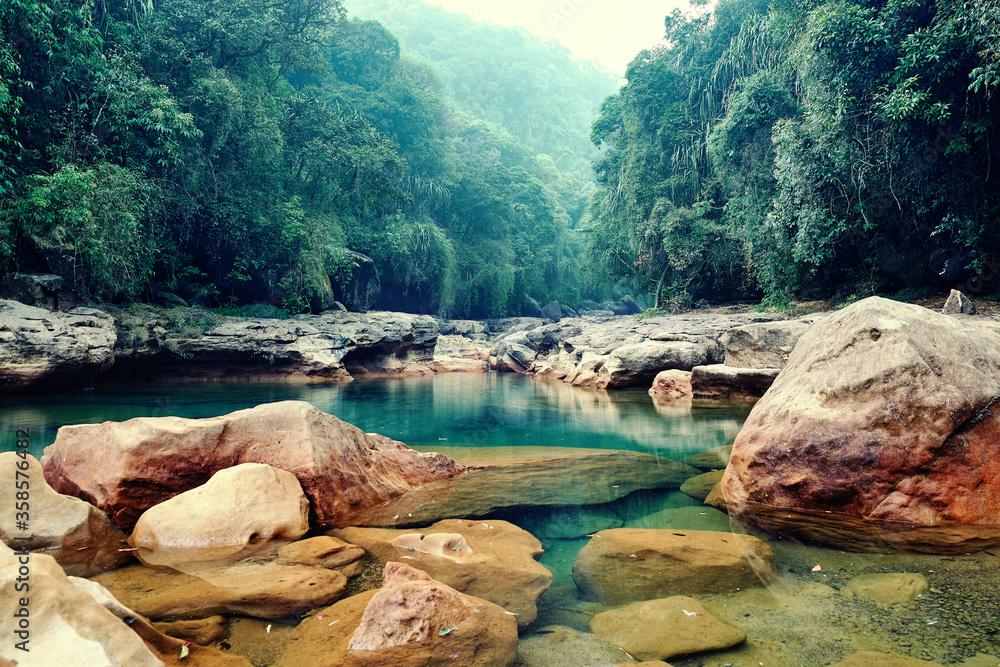 Fototapeta Rainforest landscape. Cherrapunji the wettest place on earth placed in northeast India