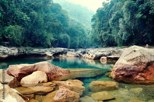 Fototapeta Rainforest landscape. Cherrapunji the wettest place on earth placed in northeast India obraz
