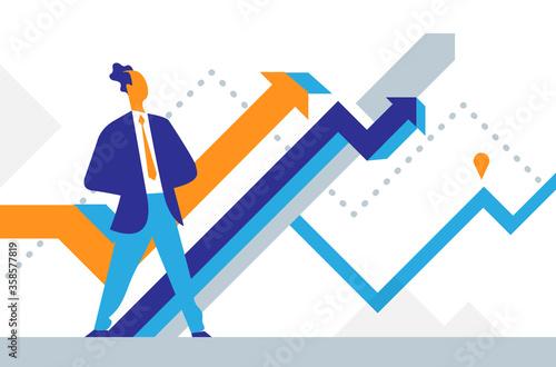 Canvas Print Un uomo di successo guarda il grafico di crescita del suo business