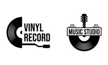 Vinyl Record Logo Template. Vector Music Icon Or Emblem.