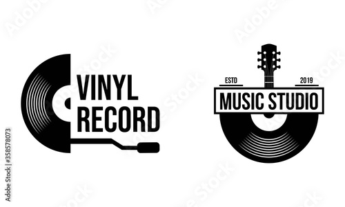 Cuadros en Lienzo Vinyl record logo template. Vector music icon or emblem.