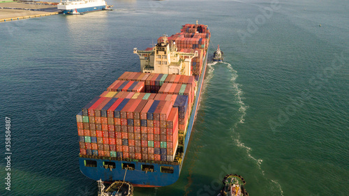 Aerial view container cargo ship, import export commerce global business trade logistic and transportation of worldwide by container cargo ship boat in the open sea, Freight shipping maritime Tablou Canvas