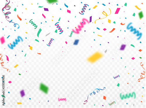 Celebration background template with confetti and colorful ribbons Canvas Print