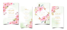 Set Of Floral Wedding Invitation With Watercolor Pink Flowers And Abstract Green Background