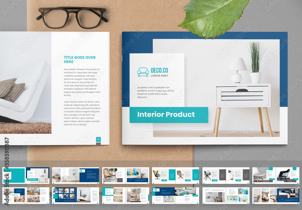 Fototapeta Product Catalog Layout with Turquoise Accents